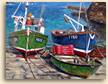 Painting of fishing boats at Portloe in Cornwall