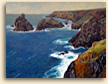 Painting of view towards Kynance Cove in Cornwall