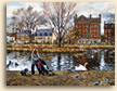 Painting of Barnes Pond in London