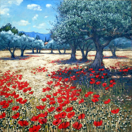 Olive Grove and Poppies, near Cassis