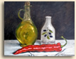 Painting of still life with olive oil